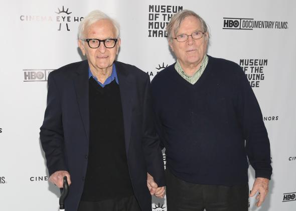 Two men who revolutionized documentary filmmaking: Al Maysles and D.A. Pennebaker. Photo by Robin Marchant/Getty Images