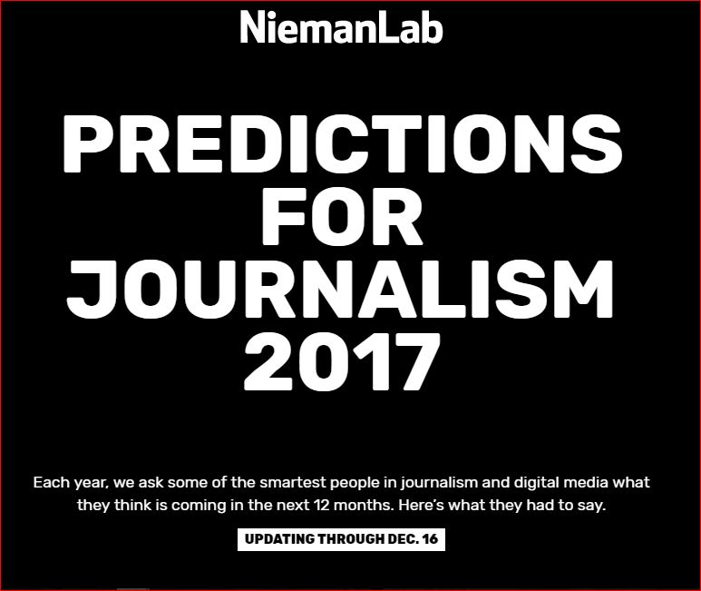 ON THE MEDIA: Predictions for (Local) Journalism 2017: Nieman Journalism Labs