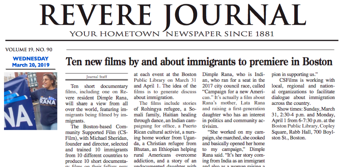 NIRV Films featured in the Revere Journal